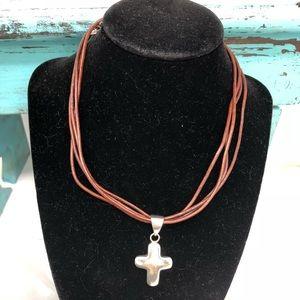 Silpada Puffy Cross Pendant w/Silpada Leather Cord